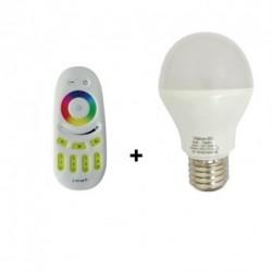 LED 9  WATT BULB E27  RGB + TELECOMMANDE 20M RF